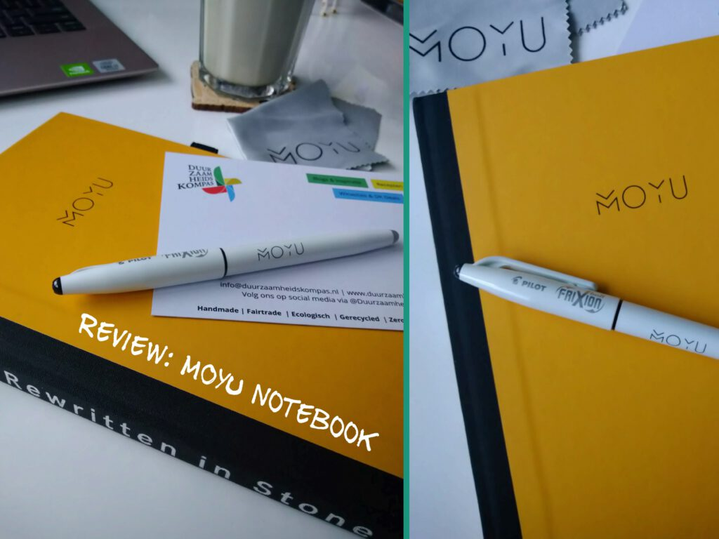 geeft een impressie van de buitenkant van MOYU Notebook gemaakt van steenpapier